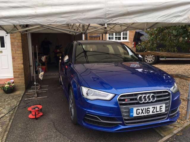 Audi Car Paint Repair Under Gazebo in Shoreham